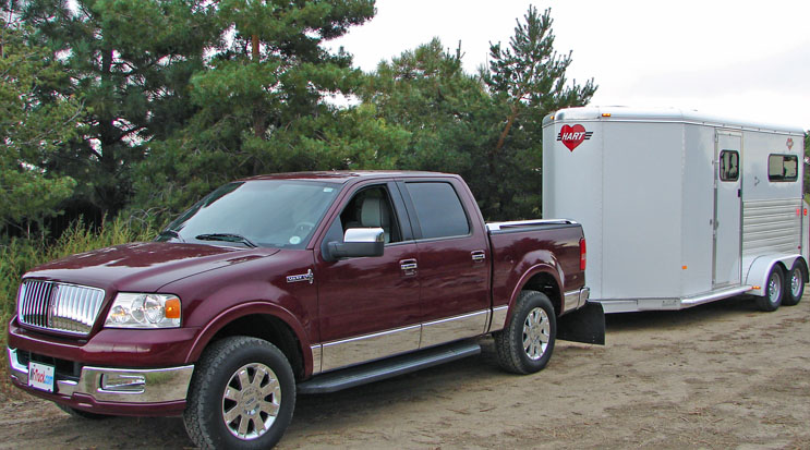 Lincoln LT pickup truck towing Hart Horse Trailer - welcome