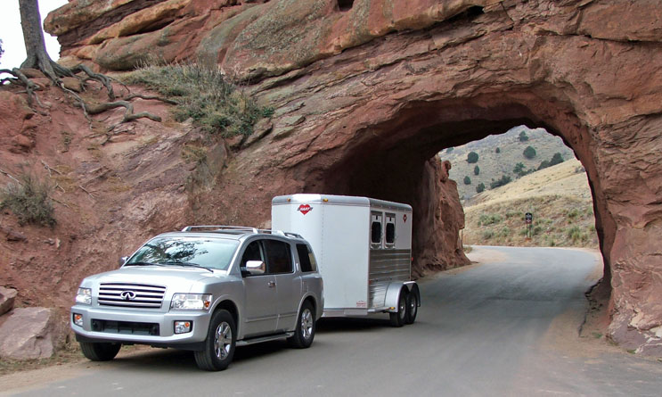 Infinity Towing A Hart Horse Trailer Through Red Rocks
